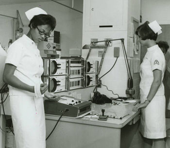 Nursing students Delores Neal and Connie Jareki, ca. 1968. The Womans Collection, Texas Womans University.
